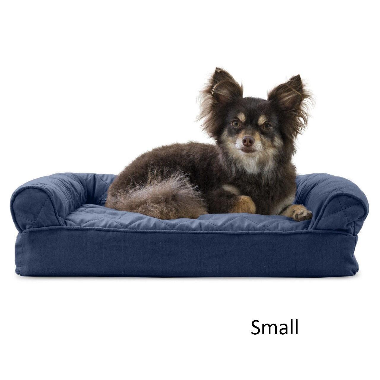 FurHaven Quilted Memory Top Sofa Pet Bed - Navy