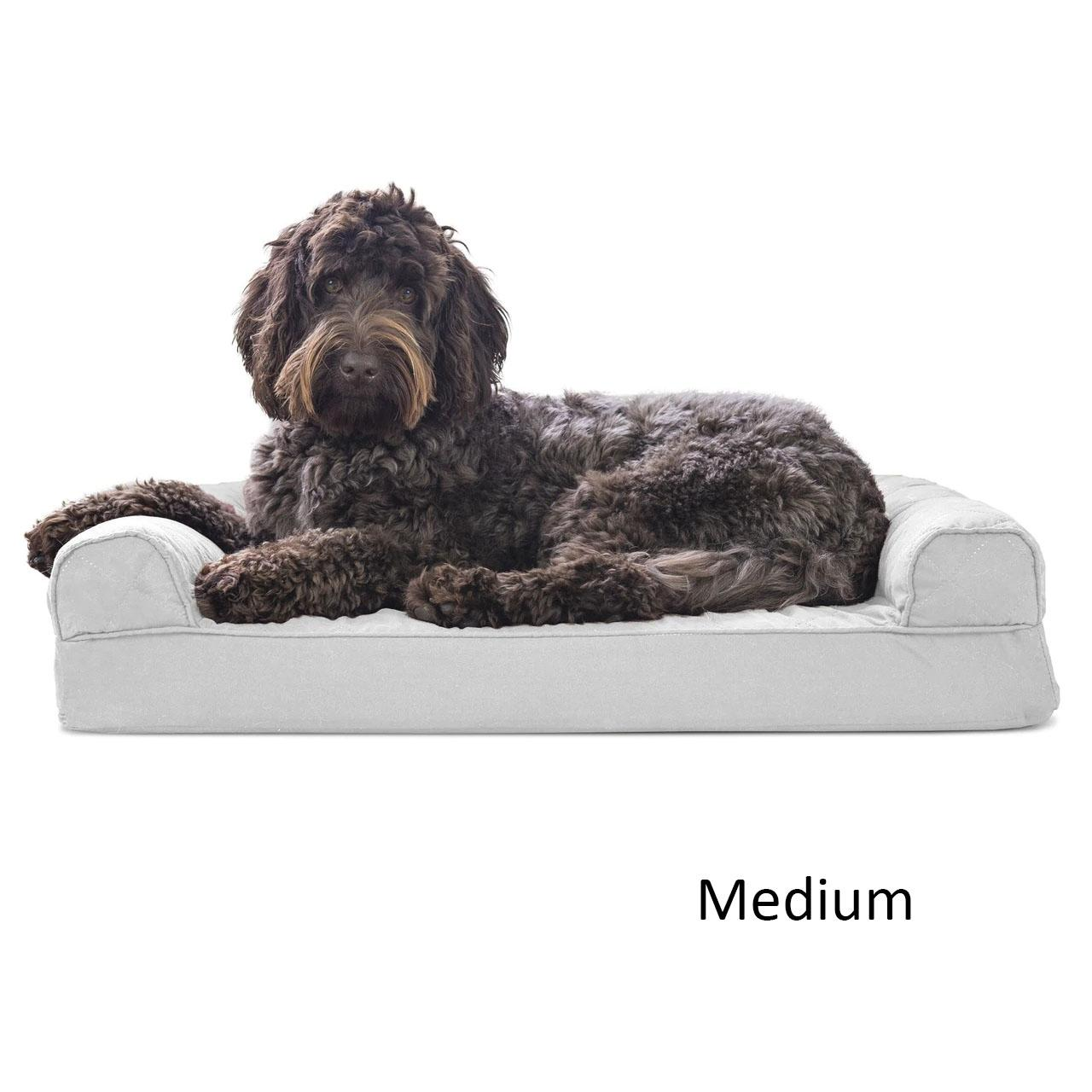 FurHaven Quilted Memory Top Sofa Pet Bed - Silver Gray