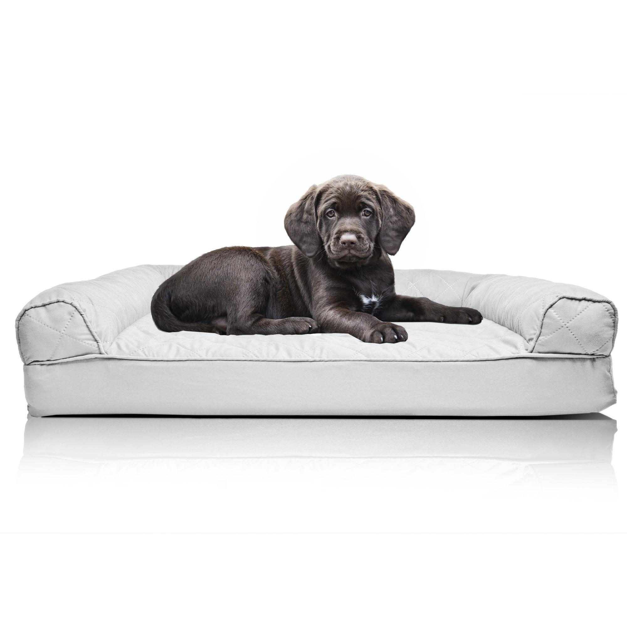 Furhaven Quilted Orthopedic Sofa Pet Bed - Silver Gray