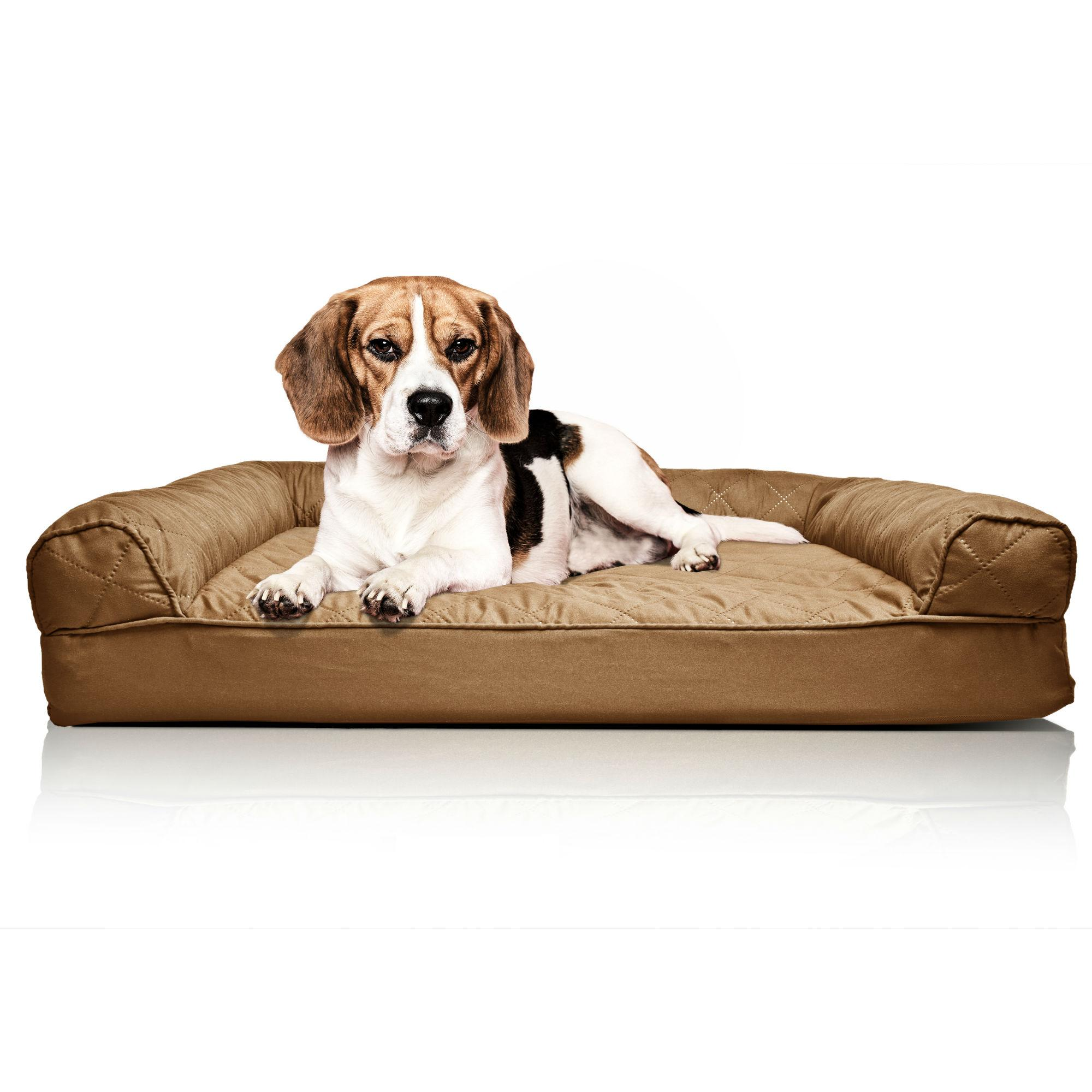 Furhaven Quilted Orthopedic Sofa Pet Bed - Warm Brown