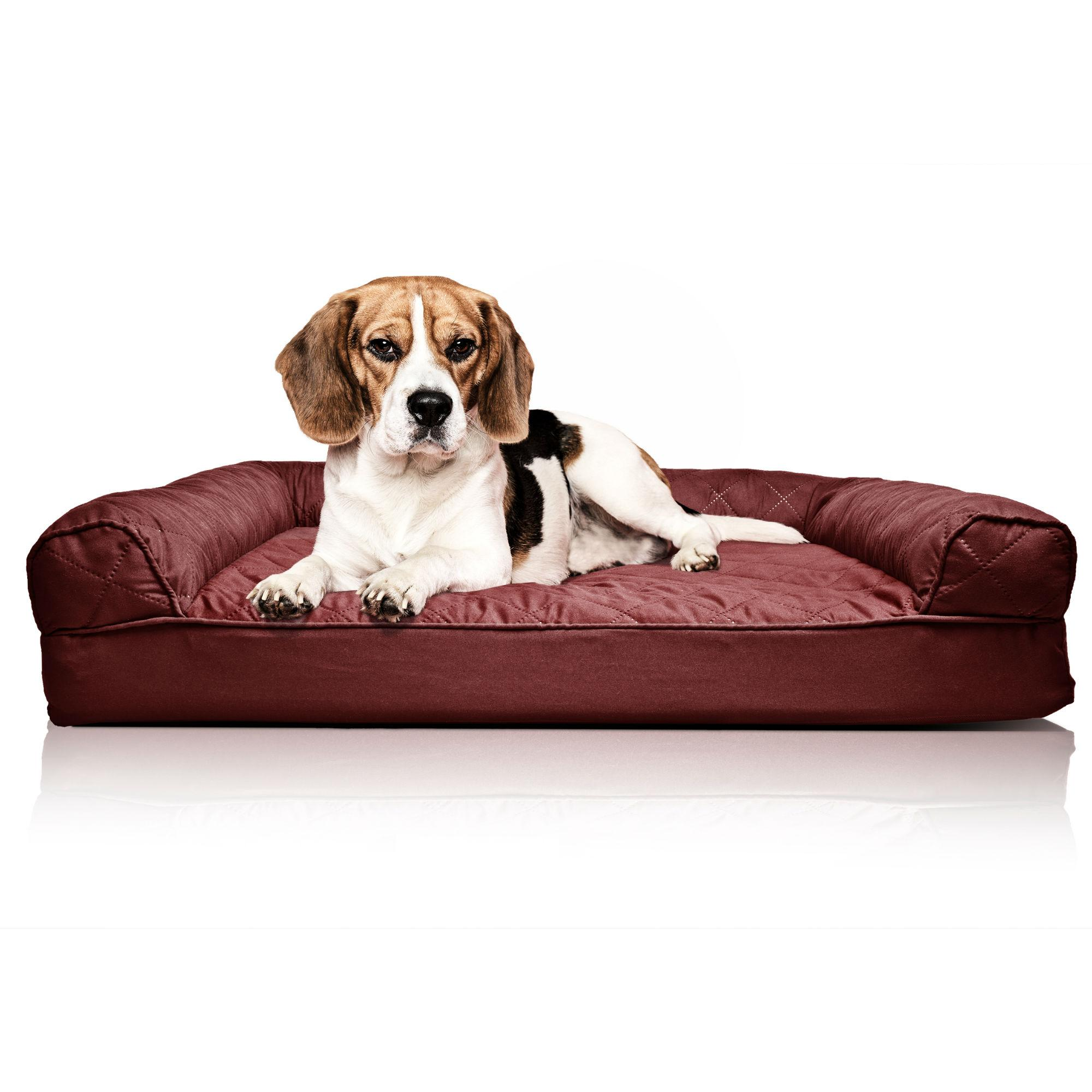 Furhaven Quilted Orthopedic Sofa Pet Bed - Wine Red