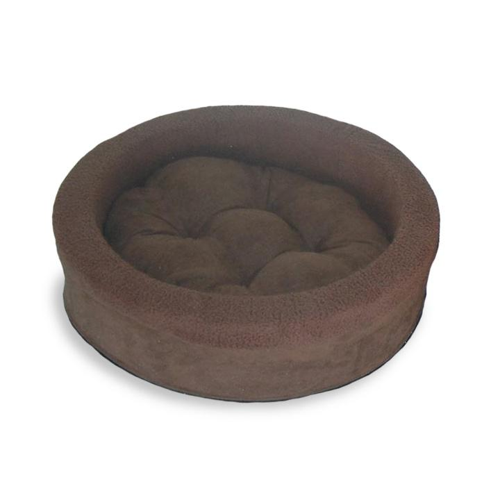 FurHaven Snuggle Terry & Suede Cup Pet Bed - Espresso
