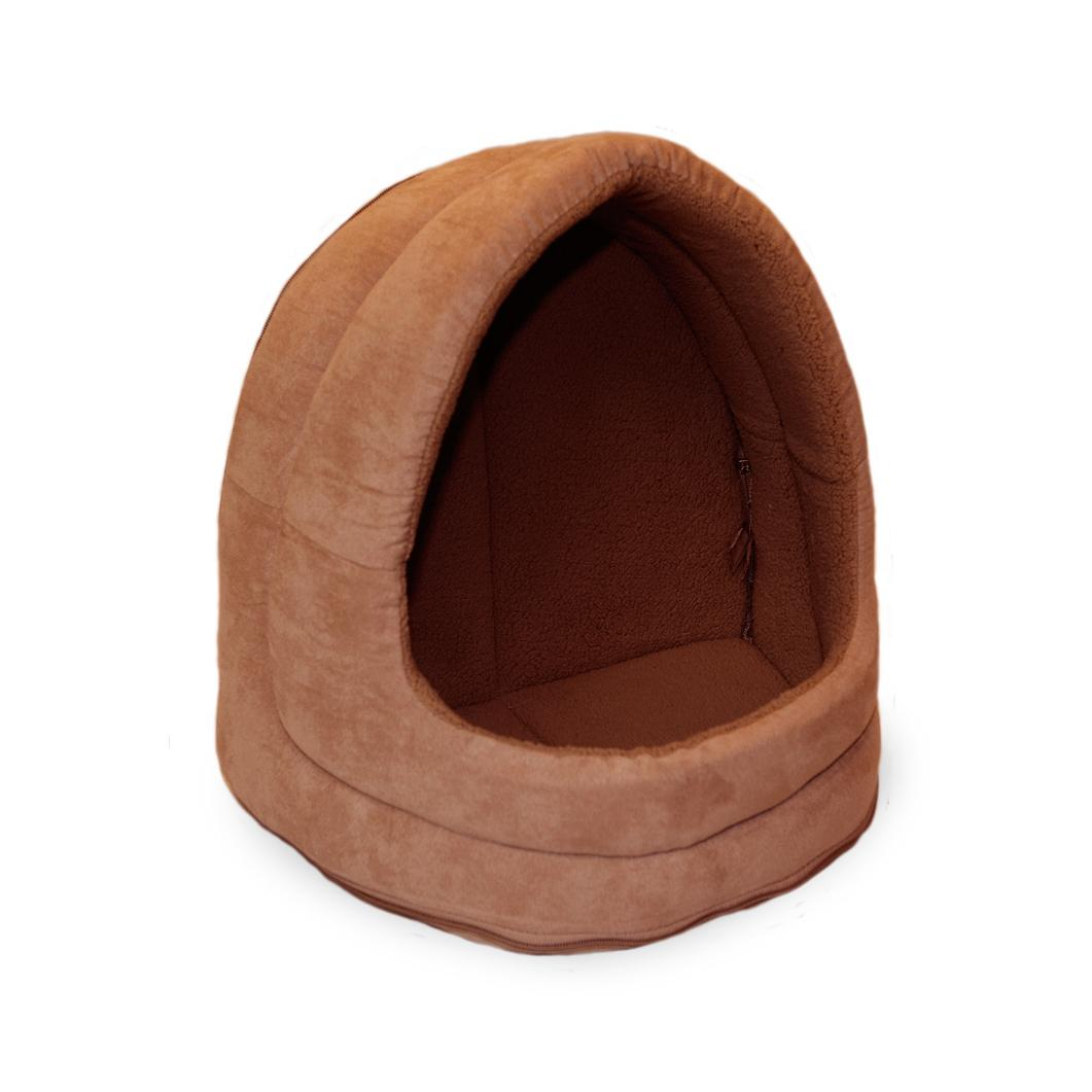 FurHaven Snuggle Terry & Suede Hood Pet Bed - Camel