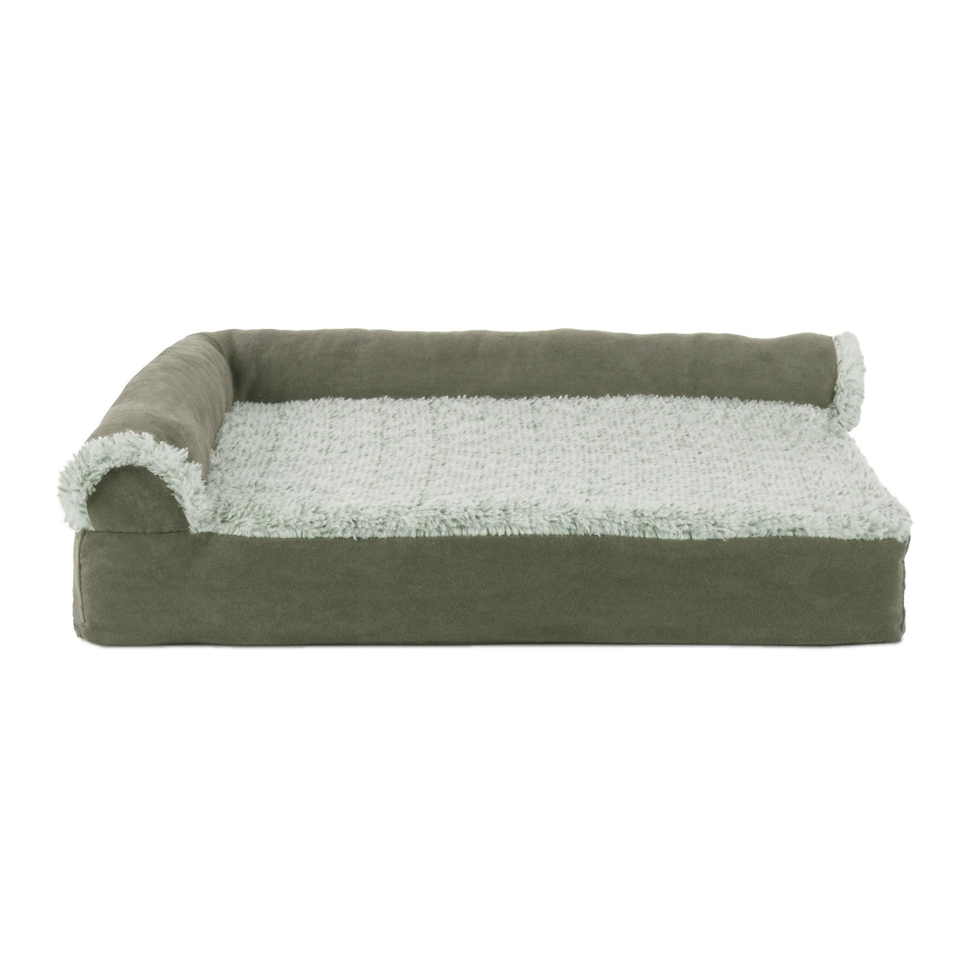 Pleasant Furhaven Two Tone Faux Fur Suede Deluxe Chaise Lounge Sofa Style Pet Bed Dark Sage Bralicious Painted Fabric Chair Ideas Braliciousco