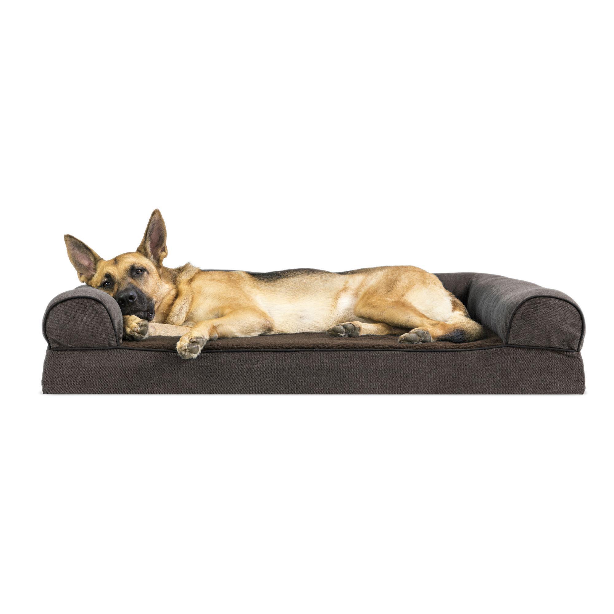 FurHaven Faux Fleece & Chenille Soft Woven Memory Top Sofa Pet Bed - Coffee