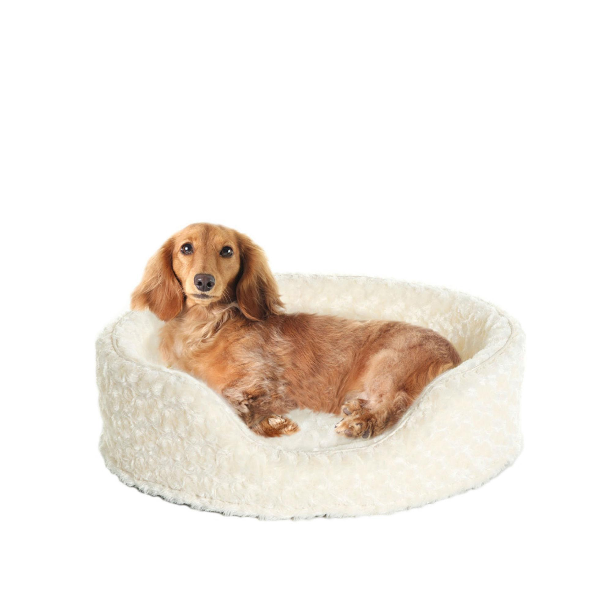 FurHaven Ultra Plush Oval Pet Bed - Cream