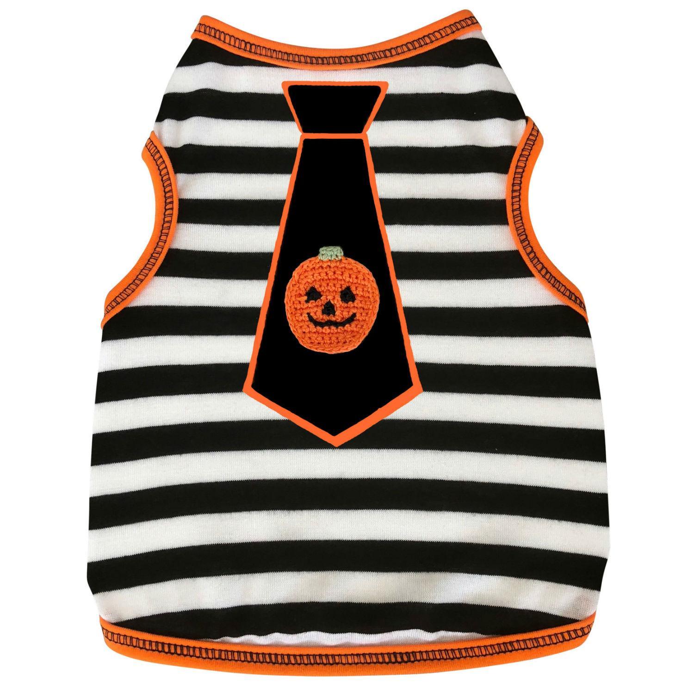 Pumpkin Tie Striped Dog Tank