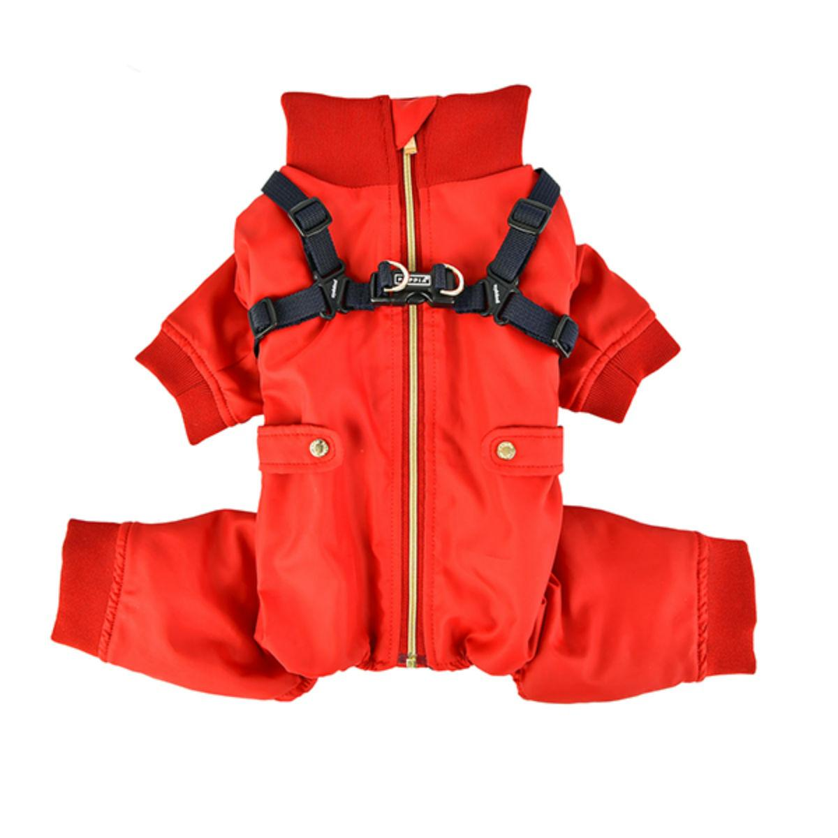 Garnet Winter Jumpsuit with Integrated Dog Harness by Puppia Life - Red