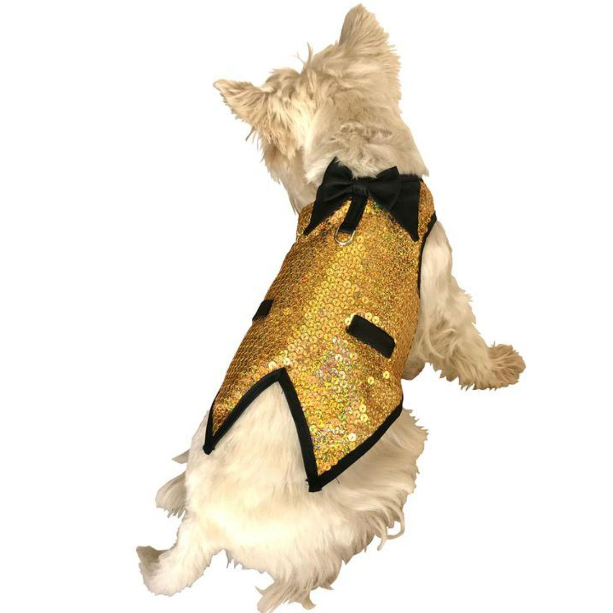 The Dog Squad's Gentlemen's Sequin Dog Tuxedo Vest - Krugerrand Gold