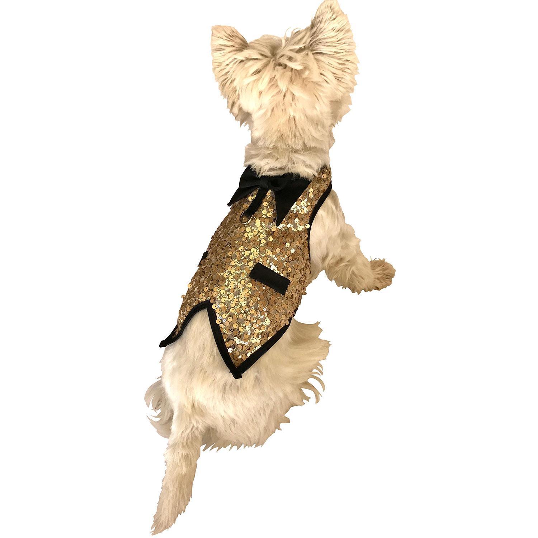 Gentlemen's Sequin Dog Tuxedo Vest - Light Gold