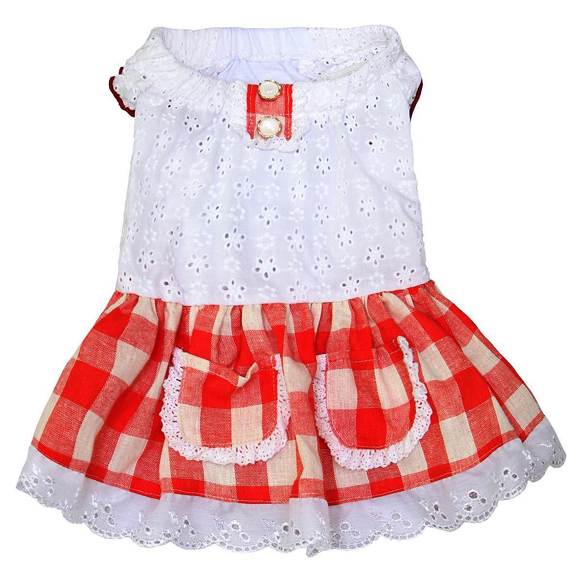 Gingham Country Dog Dress by Dobaz - Red