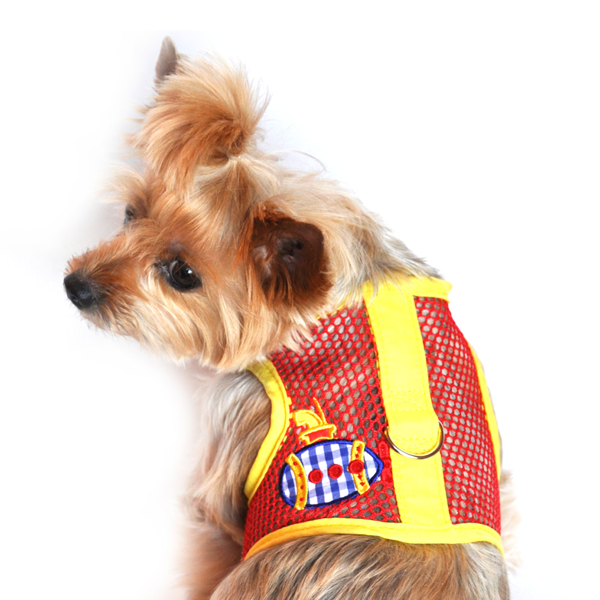 Gingham Submarine Mesh Dog Harness by Doggie Design - Yellow and Red starting at $5.00!