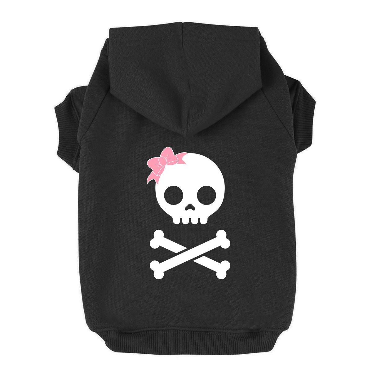 Girl Skull and Bones Dog Hoodie - Black