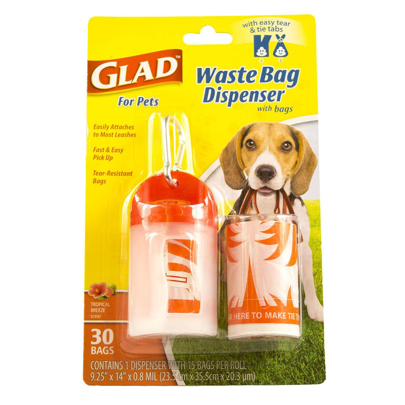 Glad for Pets Extra Large Tropical Breeze Scented Dog Waste Bags and Dispenser - 30 Count