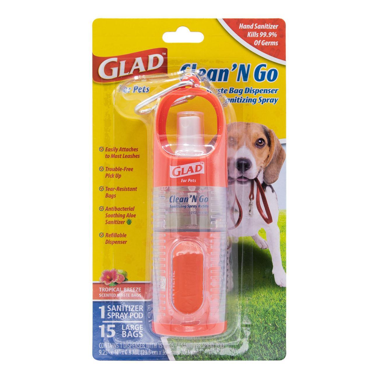 Glad for Pets Clean & Go Waste Bag Dispenser & Hand Sanitizer Spray