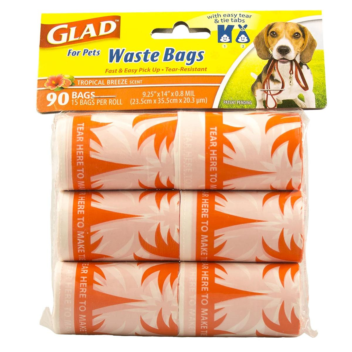 Glad for Pets Extra Large Tropical Breeze Scented Dog Waste Bags Refills - 90 Count