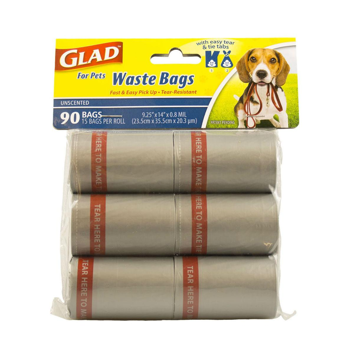 Glad for Pets Extra Large Unscented Dog Waste Bags Refills - 90 Count