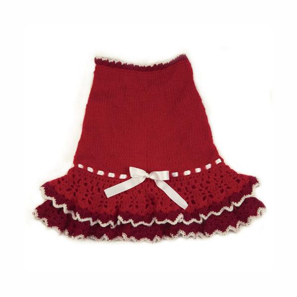 Glamourous Reds Layered Knit Dog Dress by Klippo