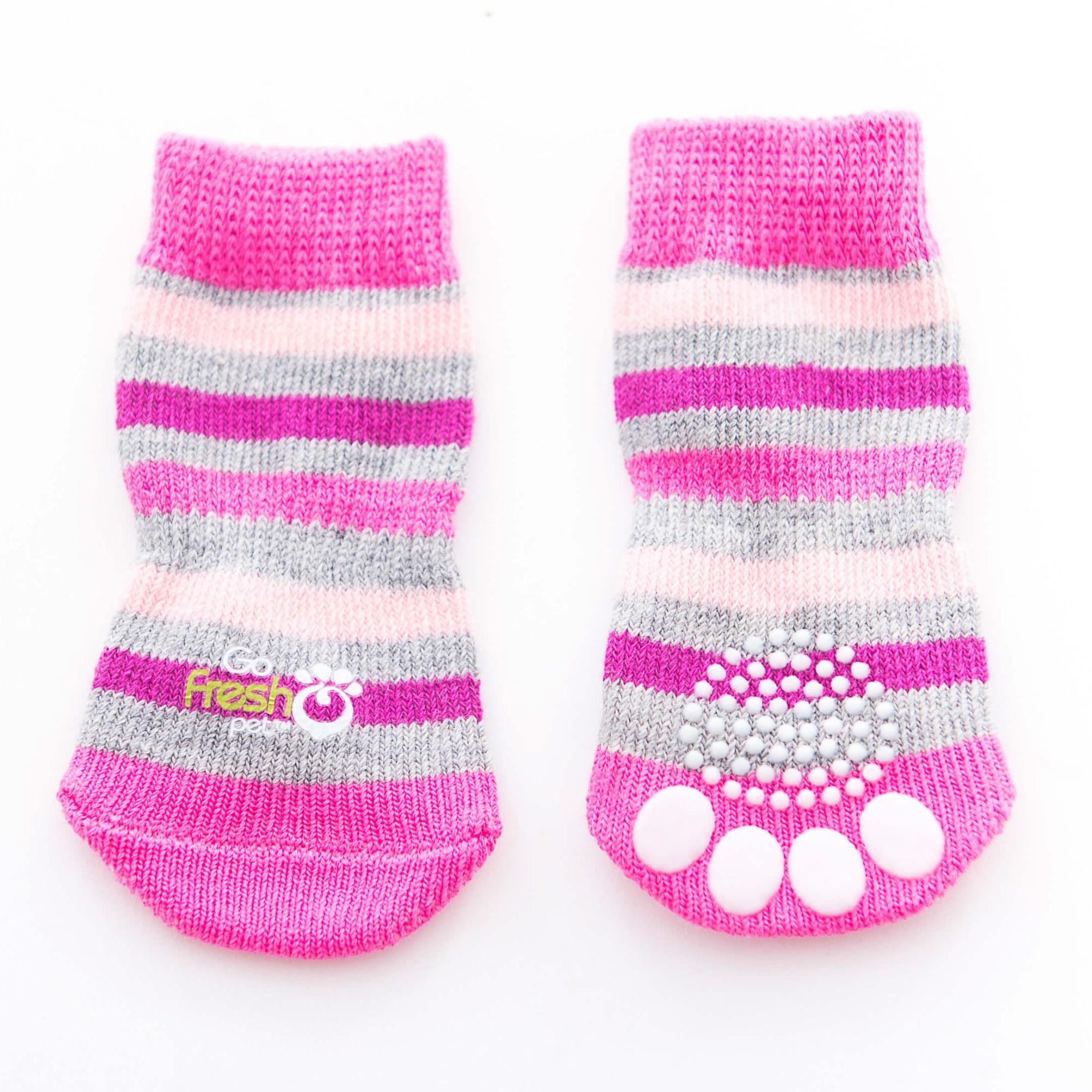 GF Pet Anti-Slip Dog Socks - Pink Stripes