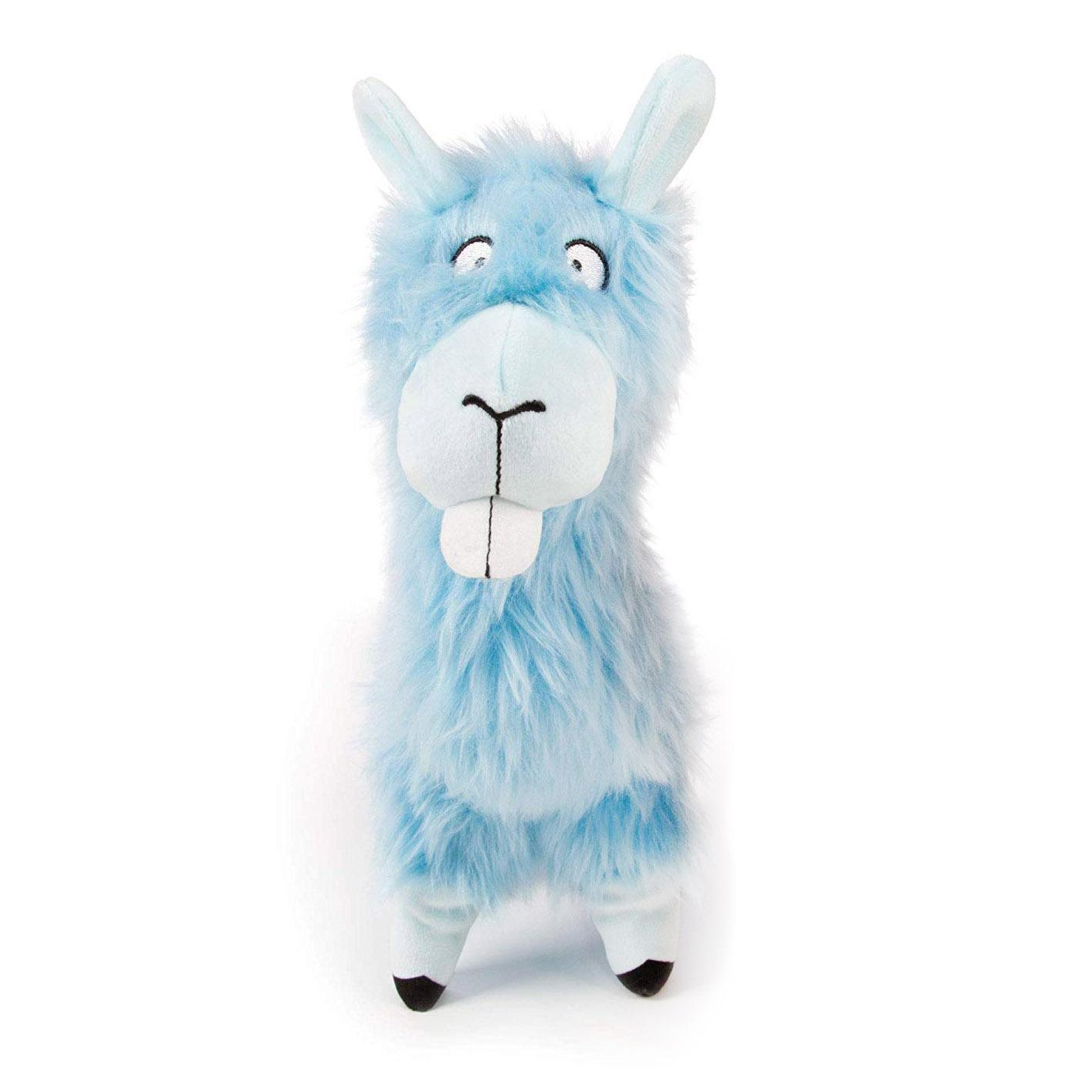 goDog Bucktooth Hairy Llama Plush Dog Toy - Blue
