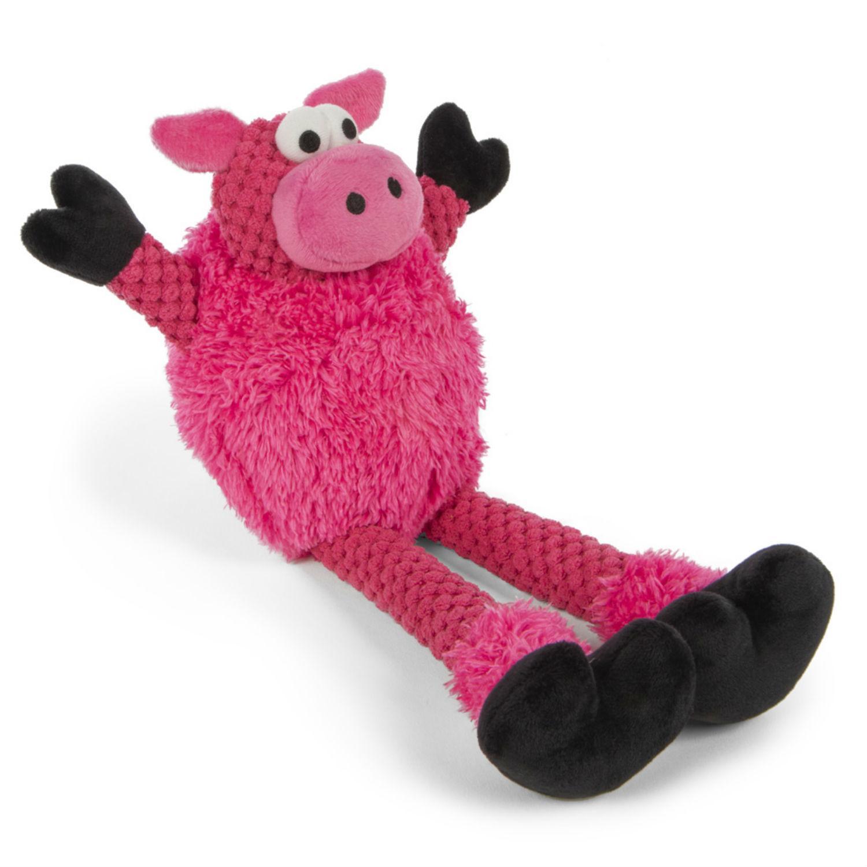 goDog Checkers Skinny Pig Dog Toy - Pink