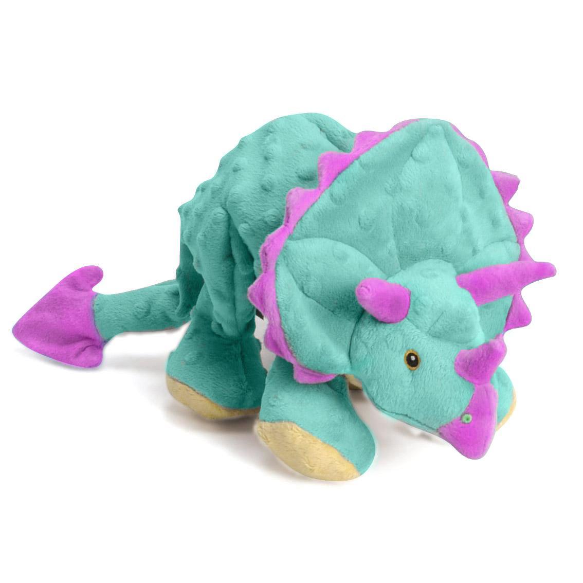 goDog Dinos Chew Guard Frills Triceratops Dog Toy - Teal