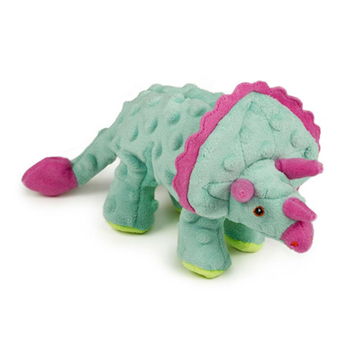 goDog Dinos Chew Guard Frills Triceratops Dog Toy - Teal