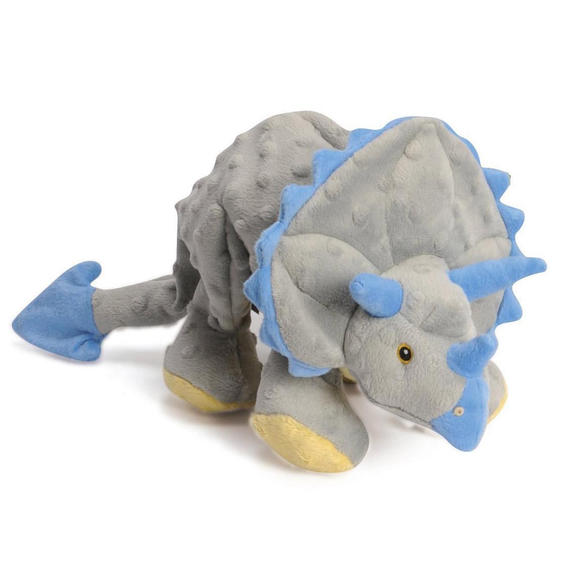 goDog Dinos Chew Guard Frills Triceratops Dog Toy - Gray