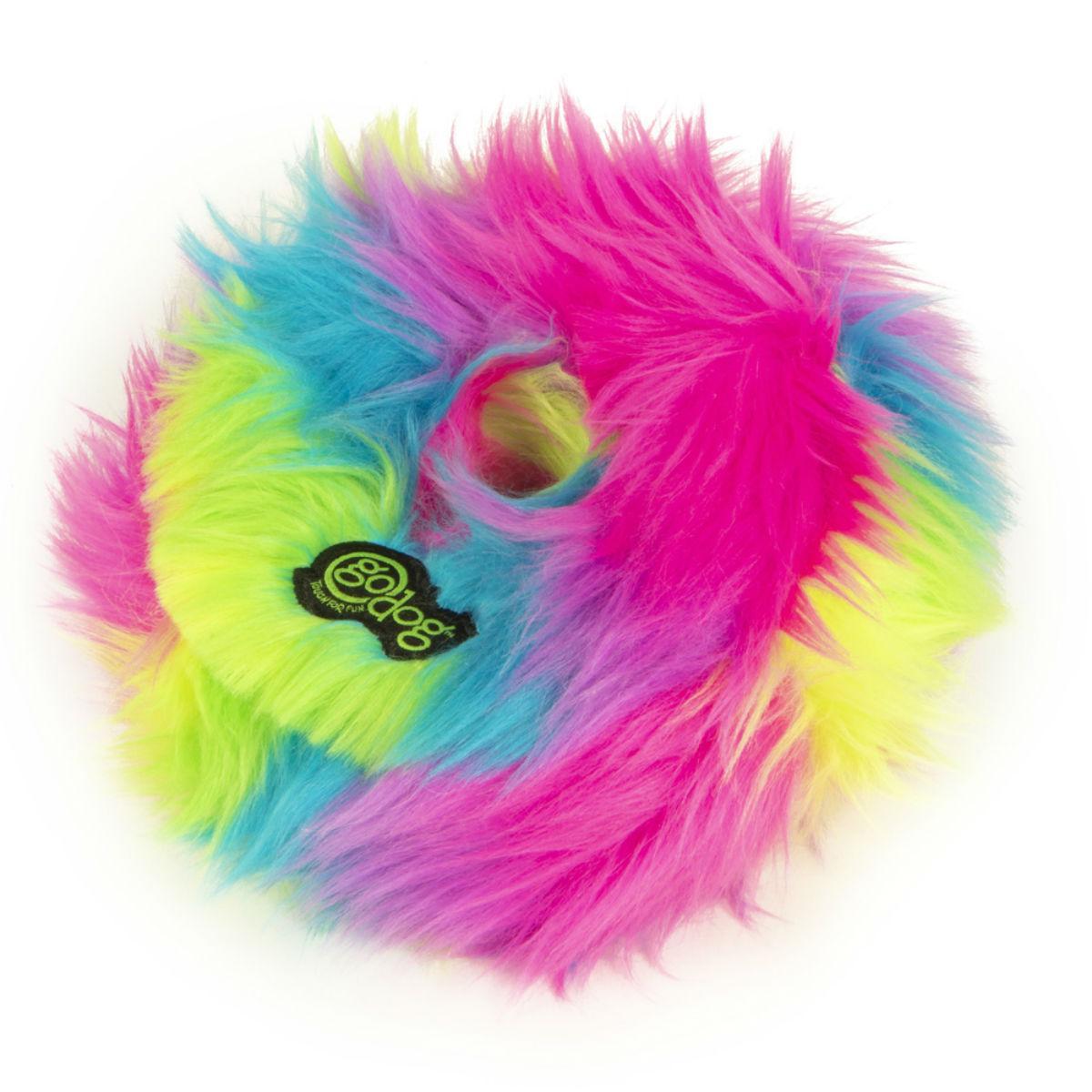 GoDog FurBallz Rings Dog Toy - Rainbow