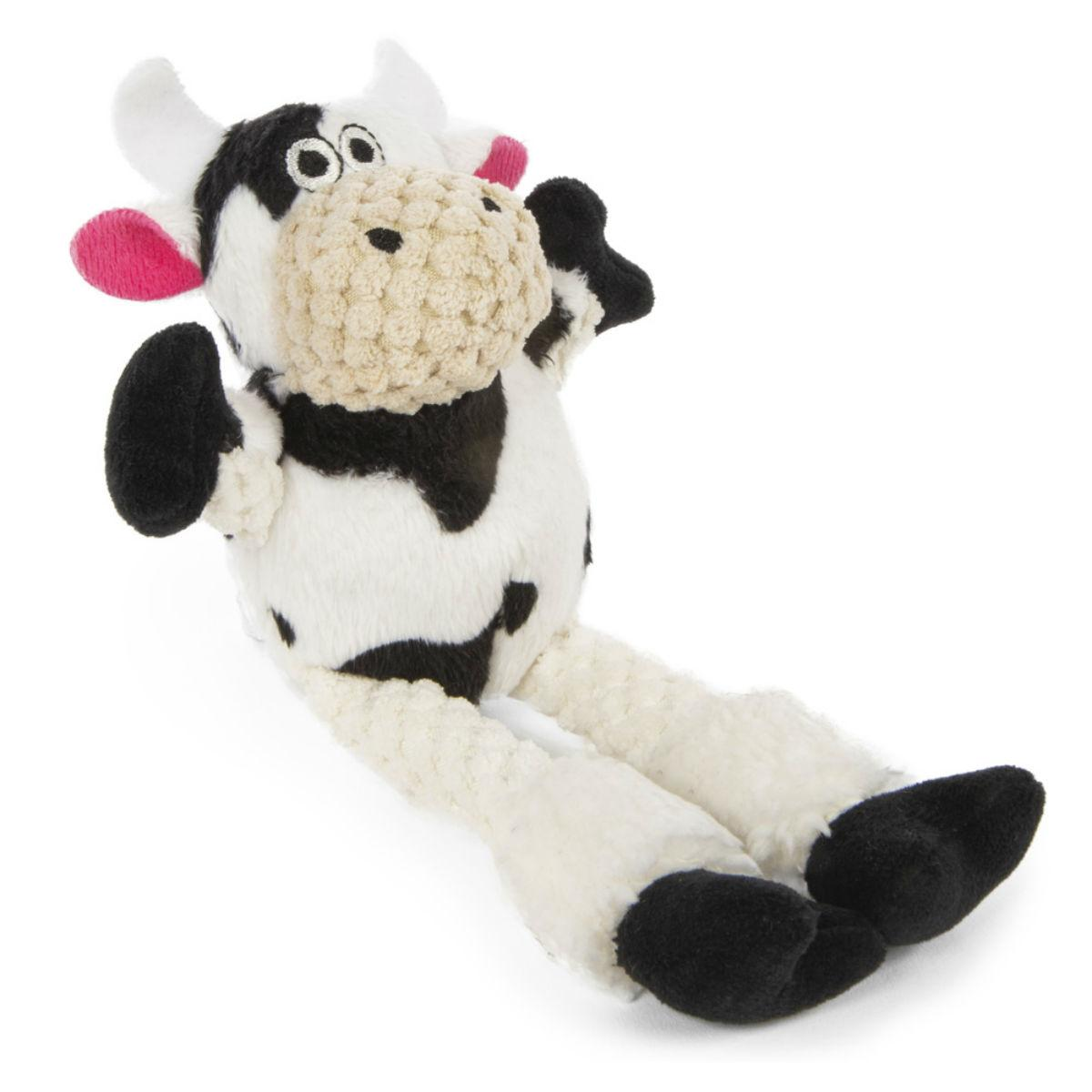 goDog Just for Me Checkers Skinny Dog Toy - Cow