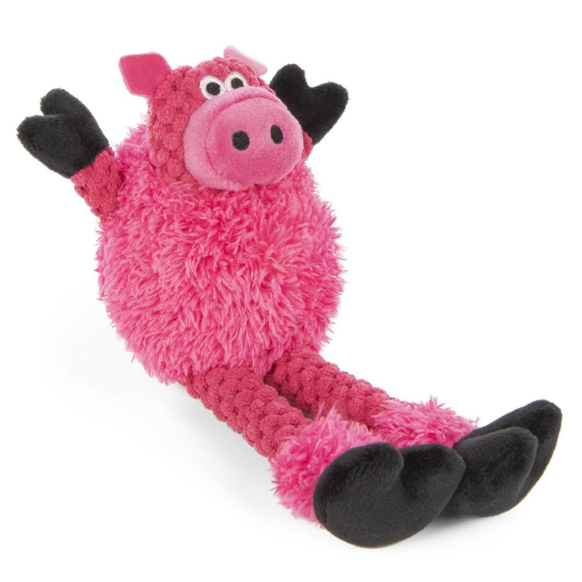goDog Just for Me Checkers Skinny Dog Toy - Pig