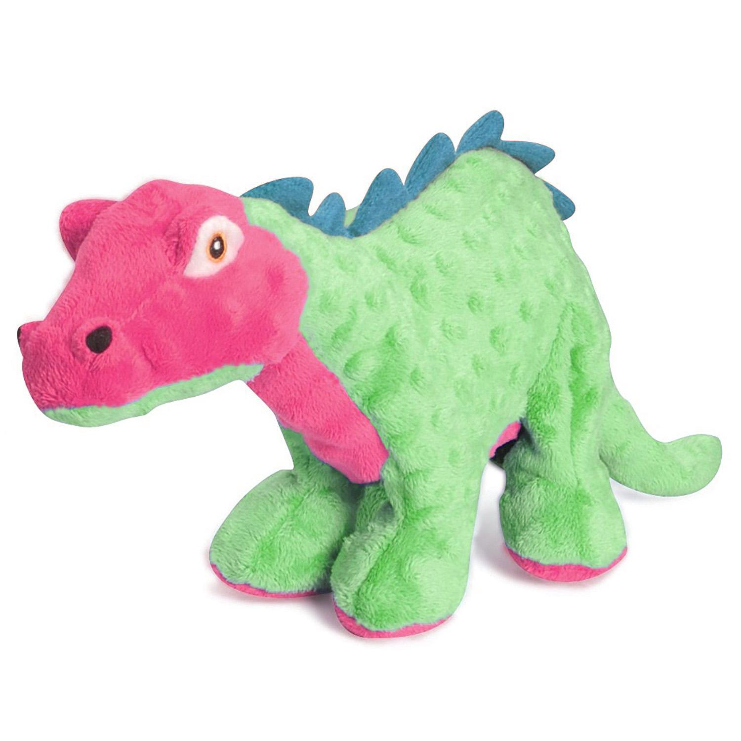 goDog Spike Dino Dog Toy with Chew Guard - Green and Pink