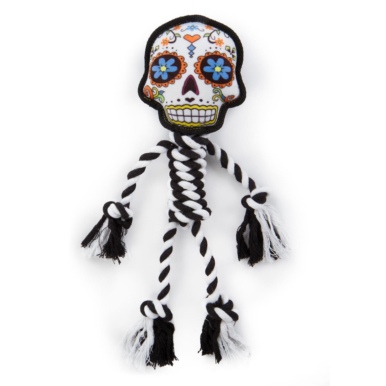 goDog Sugar Skulls Rope Dog Toy - Large White