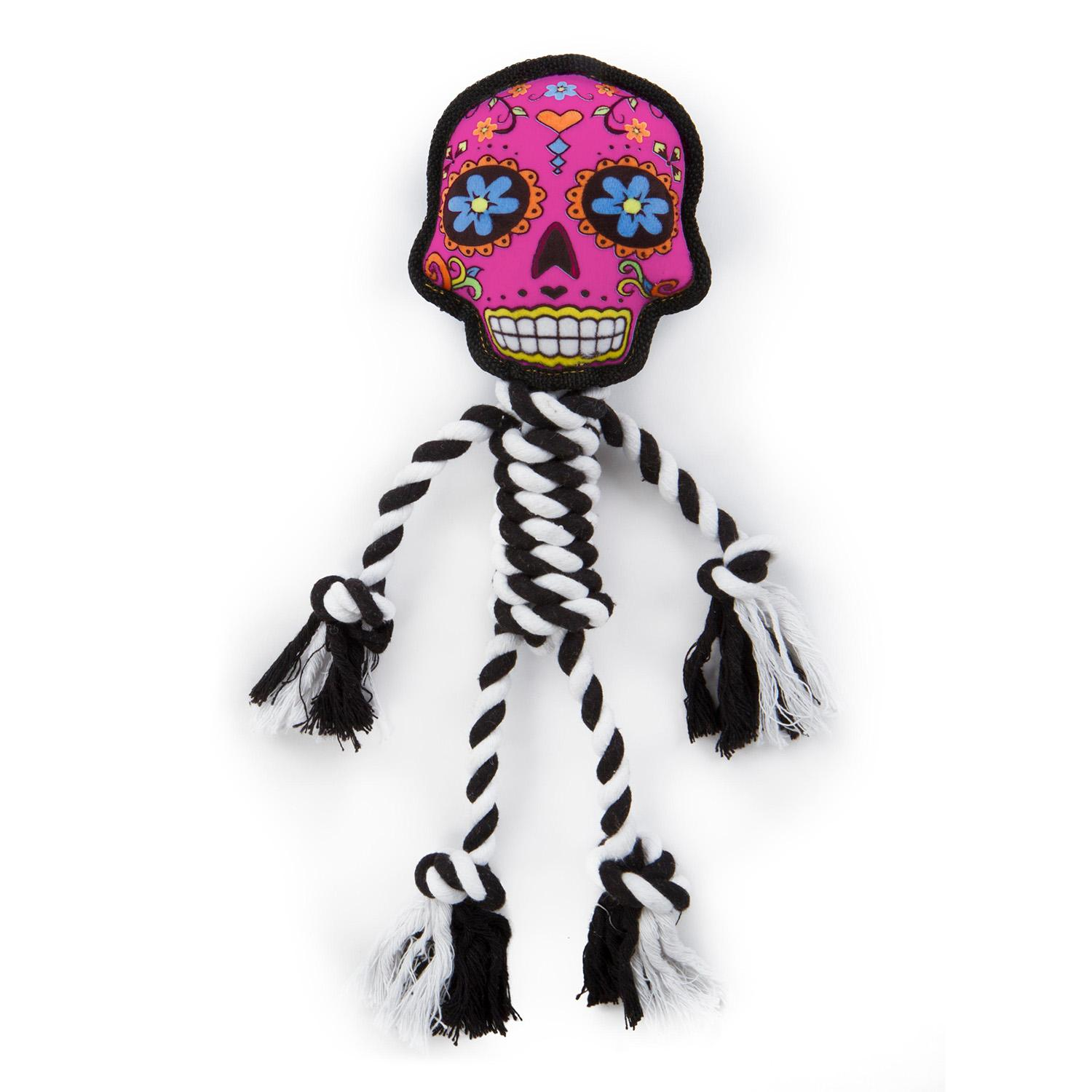 goDog Sugar Skulls Rope Dog Toy - Small Pink