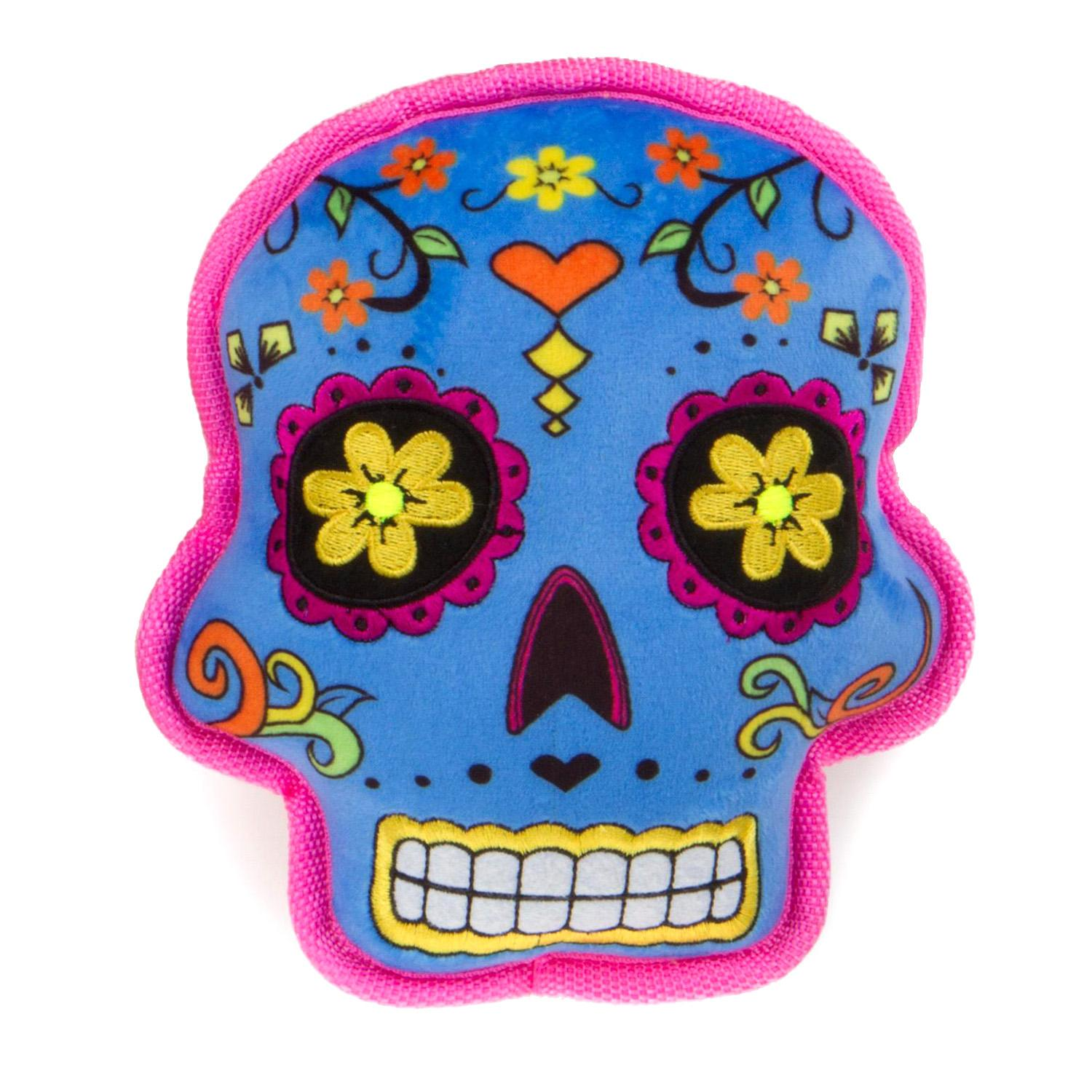 goDog Sugar Skulls Tough Dog Toy - Blue