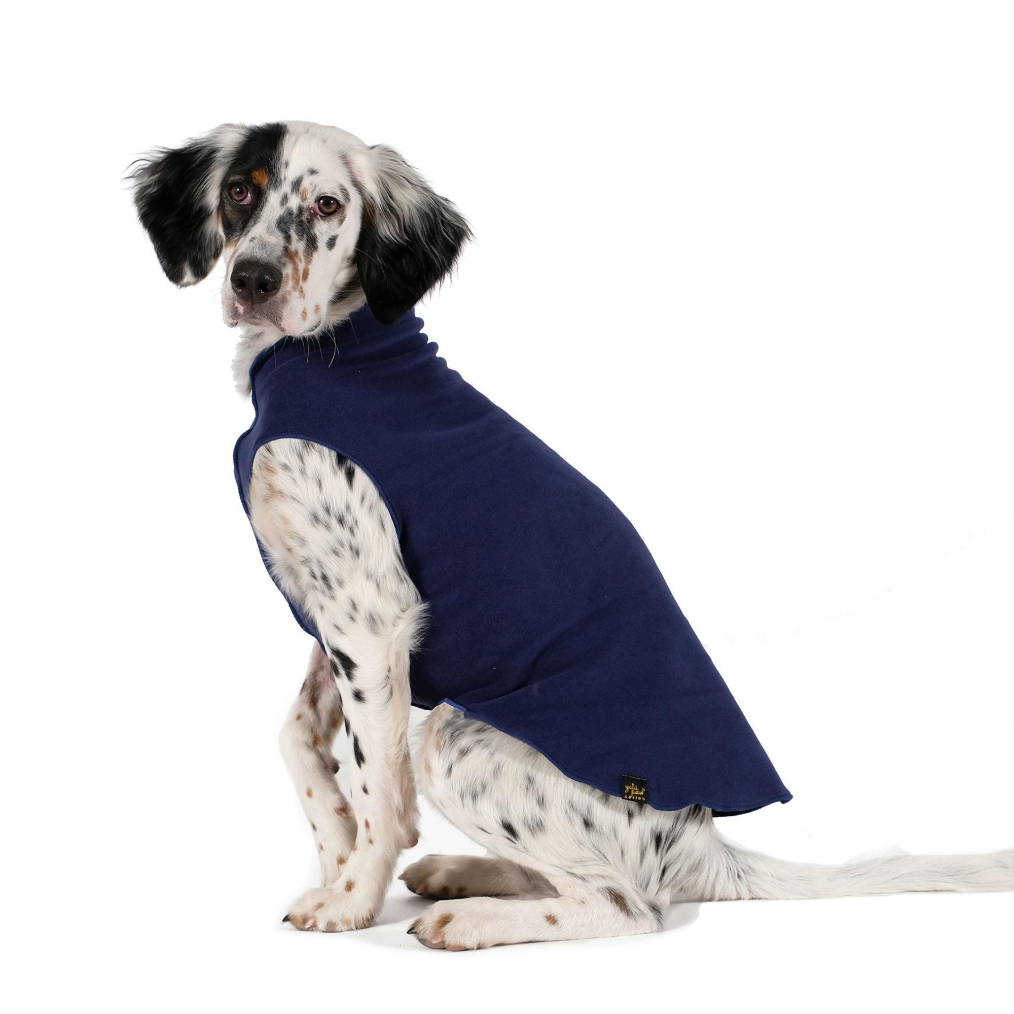 Gold Paw Fleece Dog Jacket - Navy Blue