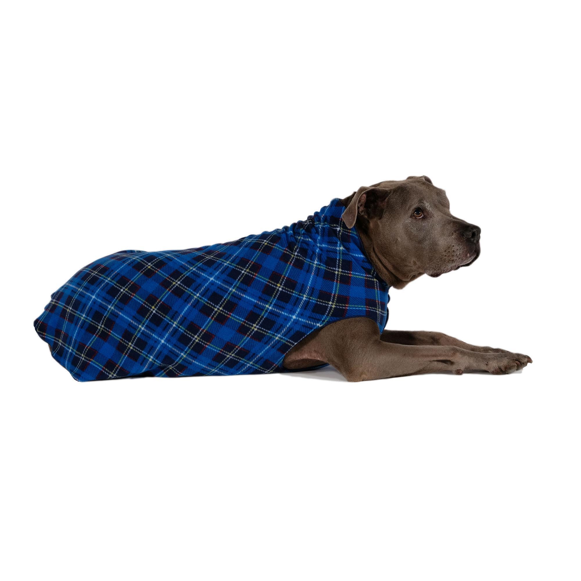 Gold Paw Fleece Dog Jacket - Blue Plaid