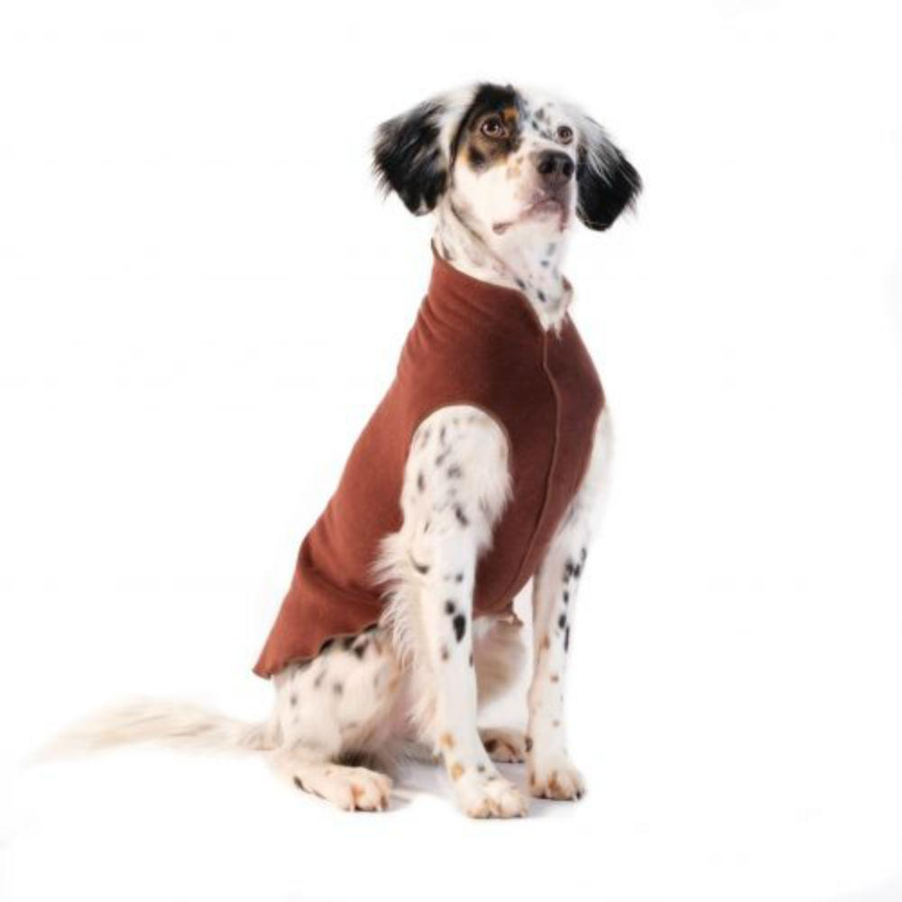 Gold Paw Fleece Dog Jacket - Chestnut