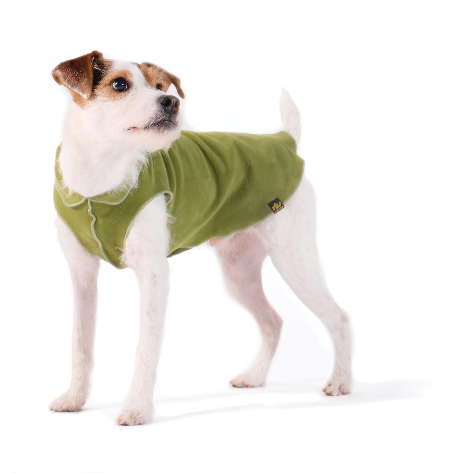 Gold Paw Fleece Dog Jacket - Moss Green