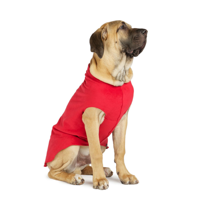 Gold Paw Fleece Dog Jacket - Red