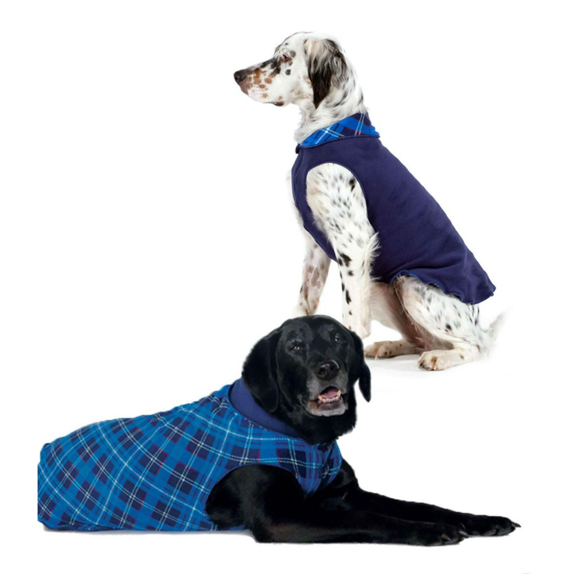 Gold Paw Reversible Double Fleece Dog Jacket - Blue Plaid/Navy