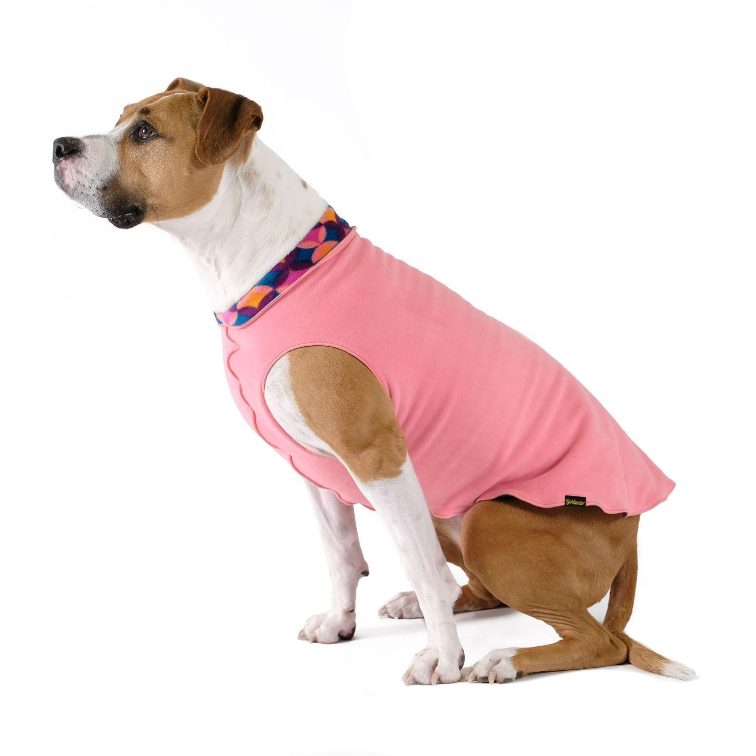 Gold Paw Reversible Double Fleece Dog Jacket - Coral and Summer Mod
