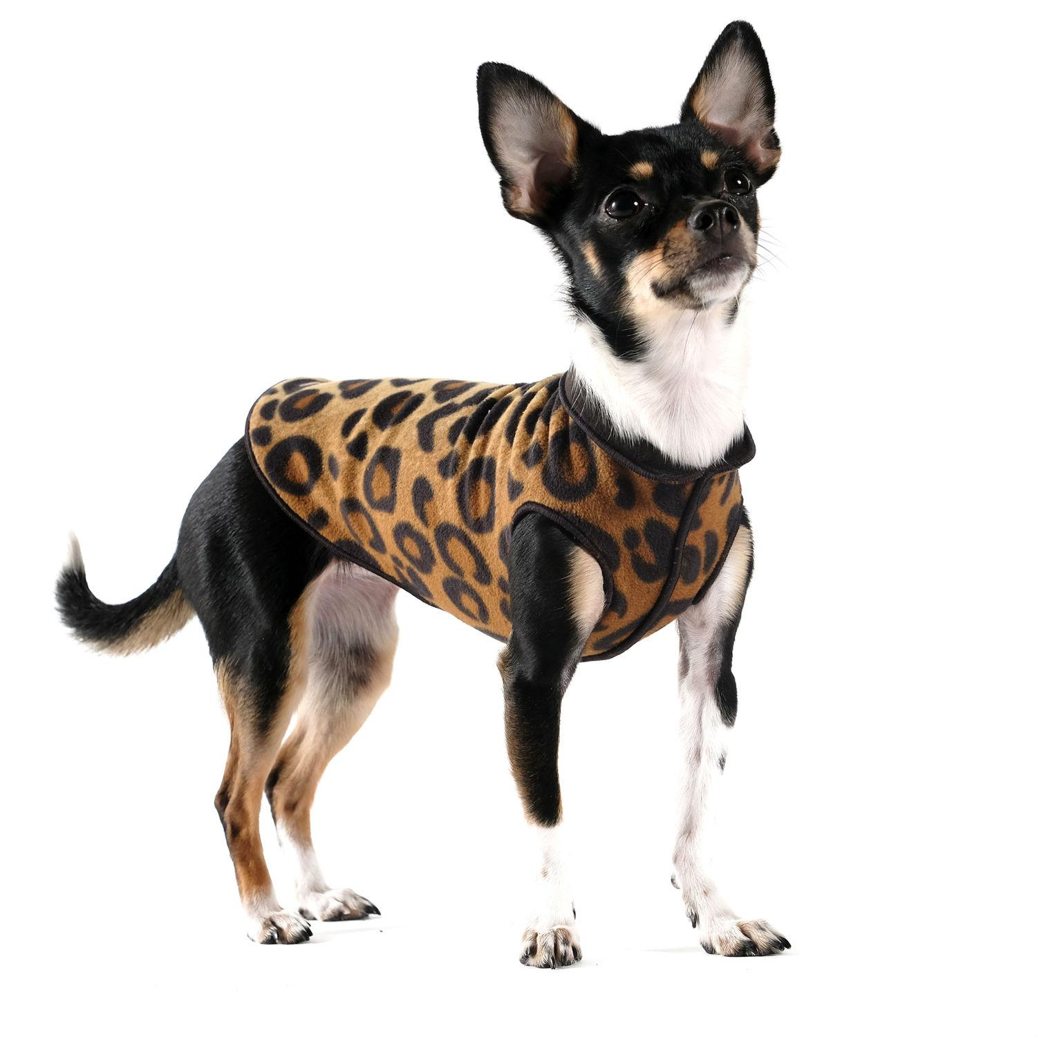 Gold Paw Reversible Double Fleece Dog Jacket - Leopard and Black