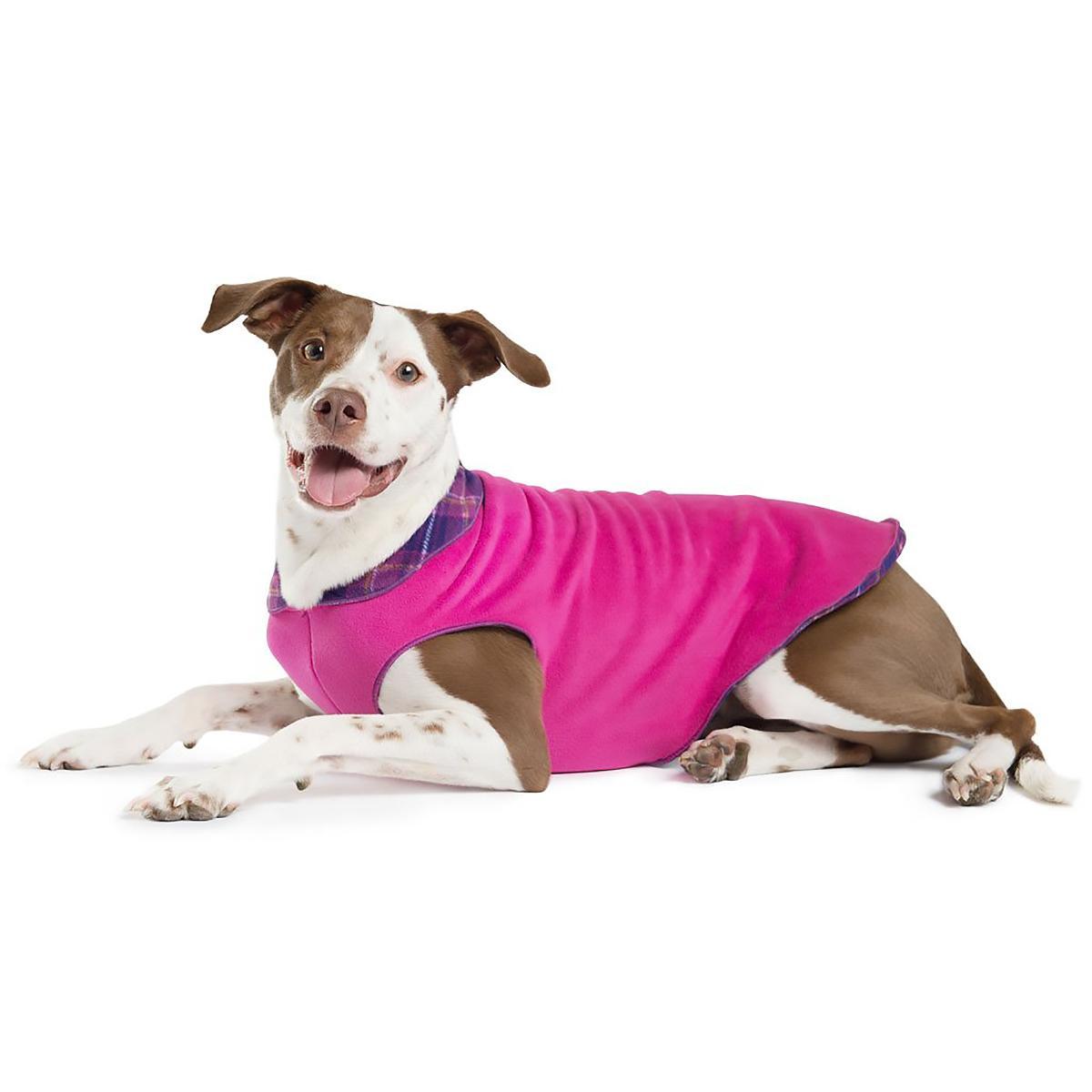 Gold Paw Reversible Double Fleece Dog Jacket - Mulberry Plaid/Fuchsia