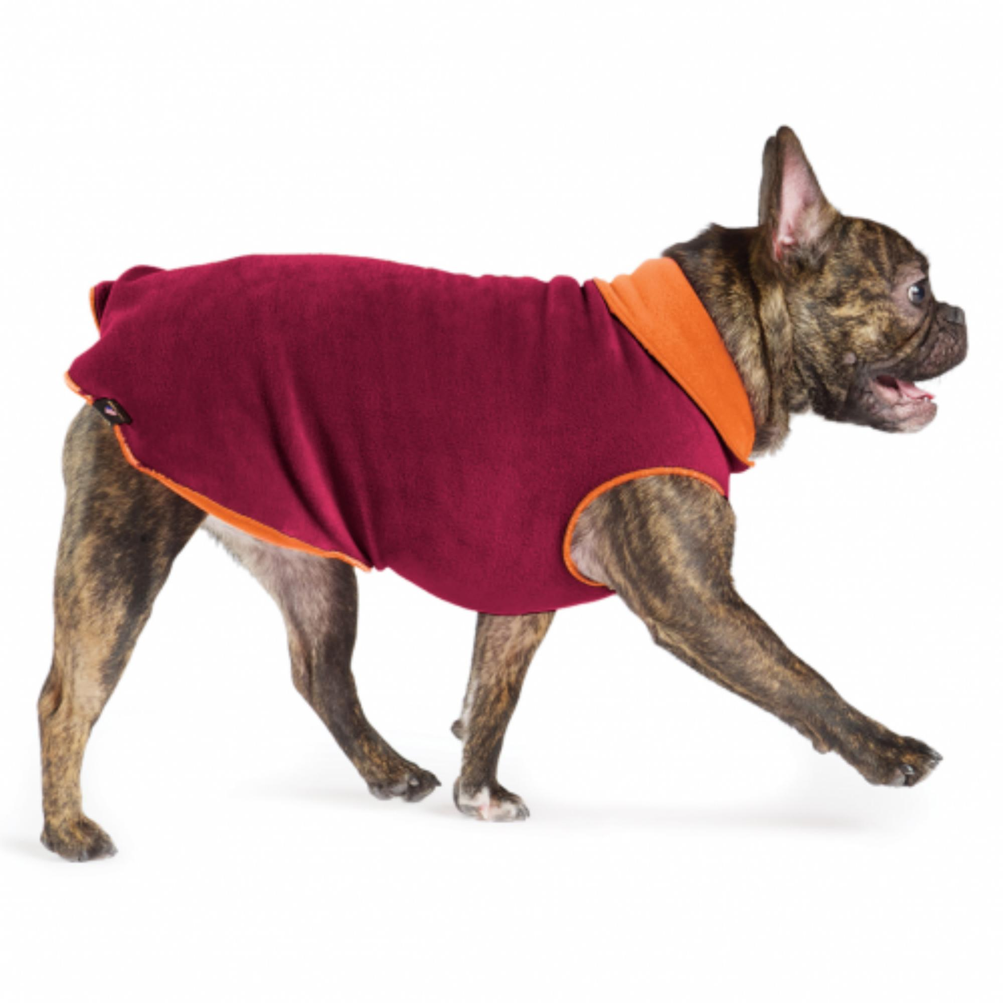 Gold Paw Reversible Double Fleece Dog Jacket - Garnet/Pumpkin