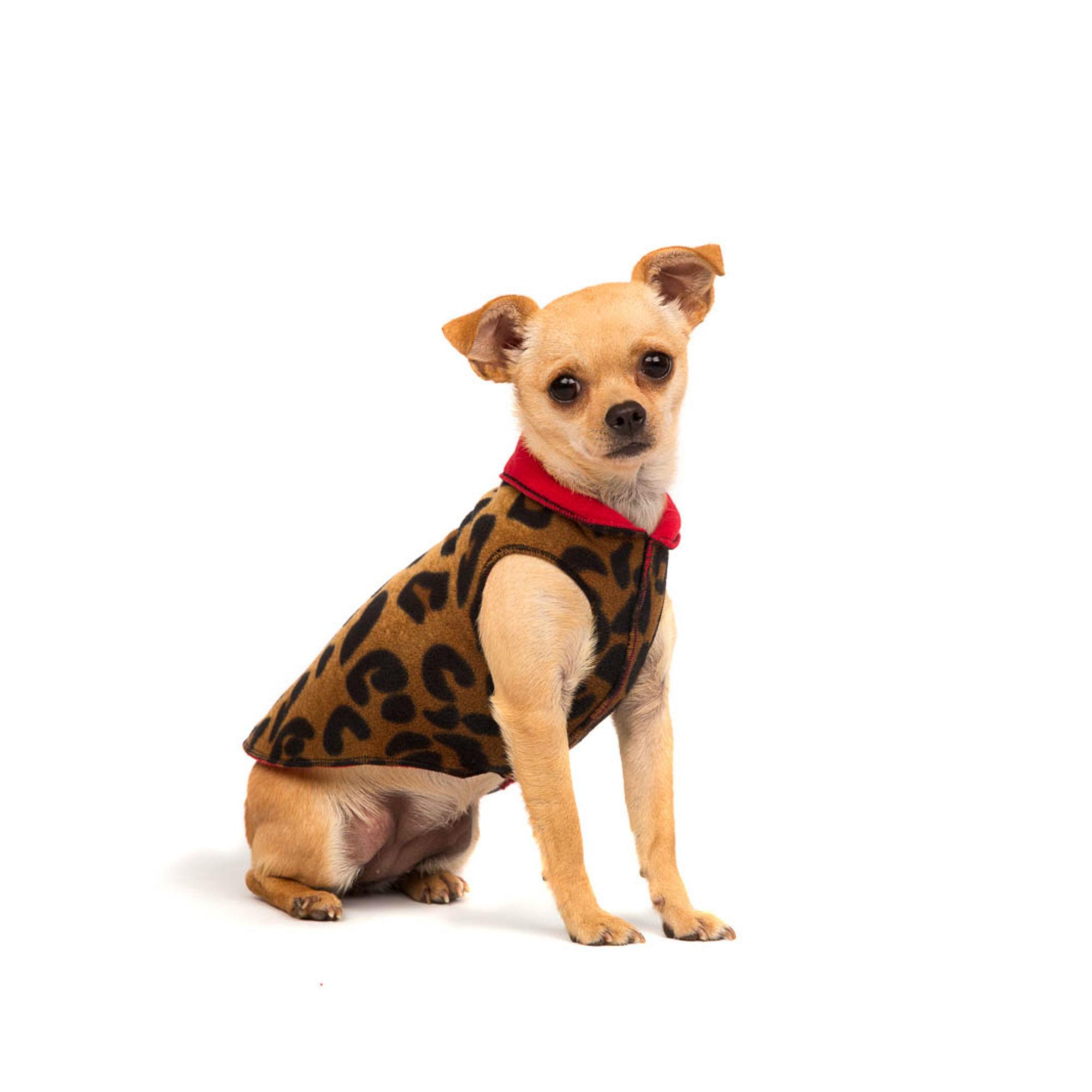 Gold Paw Reversible Double Fleece Dog Jacket - Leopard/Red