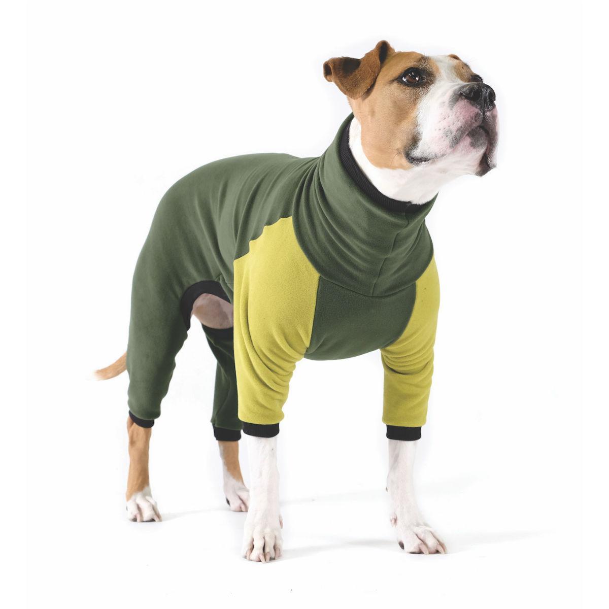 Gold Paw Stretch Fleece Dog Onesie - Hunter and Avocado
