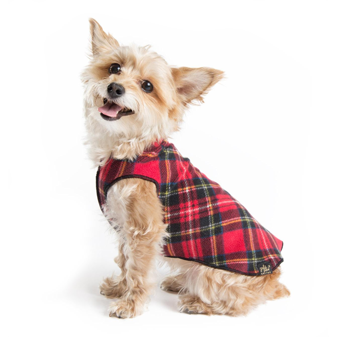 Gold Paw Reversible Double Fleece Dog Jacket - Red Tartan/Black