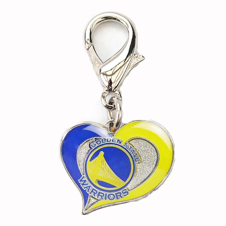 Golden State Warriors Swirl Heart Dog Collar Charm