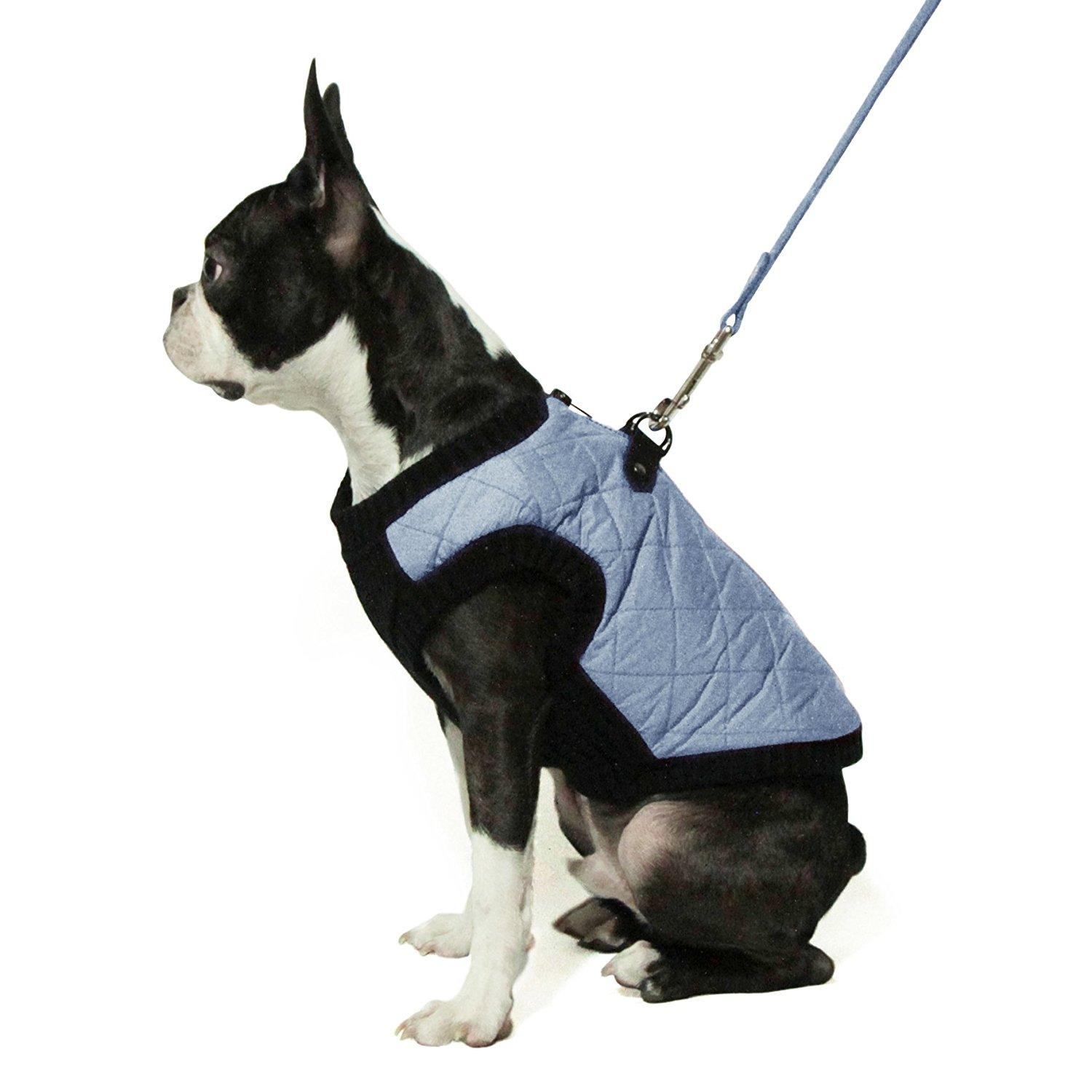 Gooby Fashion Quilted Dog Vest - Gray